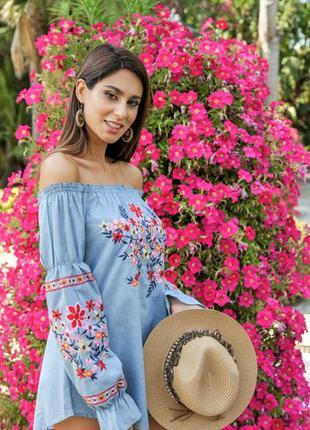 Женская блузка с вышивкой испания рубашка вышиванка с длинным пышным рукавом xs s m l xl