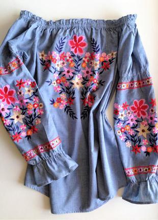 Женская блузка с вышивкой испания рубашка вышиванка с длинным пышным рукавом испания