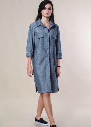 Универсальное платье-рубашка, натуральный лён, размер 42-46.1