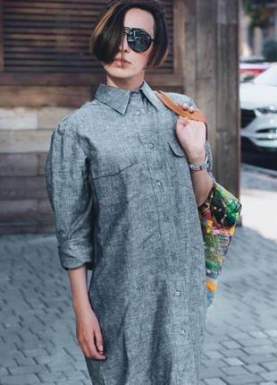 Универсальное платье-рубашка, натуральный лён, размер 42-46.4