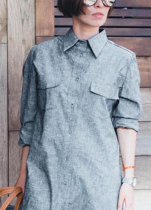 Универсальное платье-рубашка, натуральный лён, размер 42-46.3