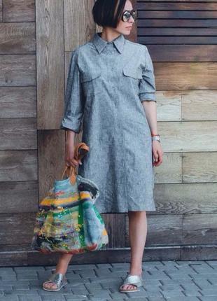 Универсальное платье-рубашка, натуральный лён, размер 42-46.2