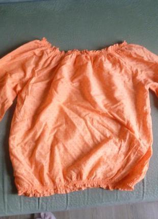 Блуза со спущенными плечами оранжевая