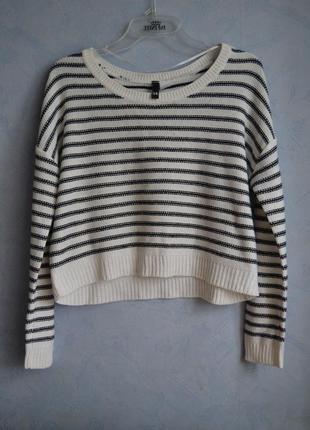Укороченный свитер в полосочку h&m