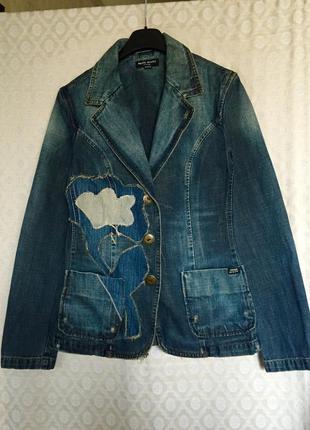 Люксовый джинсовый пиджак жакет
