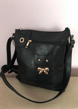 Шикарная сумка с котом , удобная сумка с длинными ручками