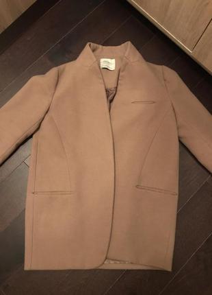 Пальто zara (нюд, oversize)