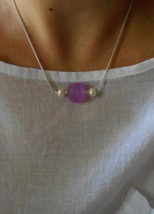 Цепочка, бусы ,браслет натуральный камень кварц жемчуг