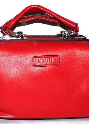 Женская красная сумка саквояж dovili с ремешком 27 16 см1 9ffbe84151c59