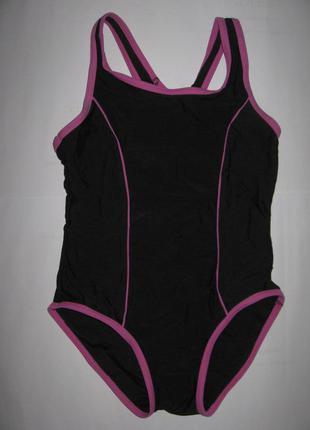 Черный спортивный цельный купальник на девочку 5-6лет, на рост 110-116см
