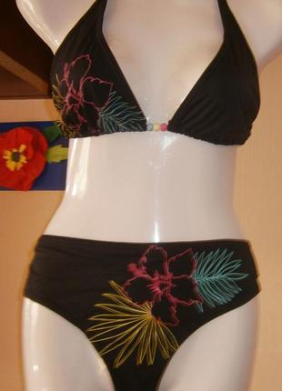 Купальник new look 50-52 размер раздельный черный с цветами