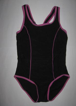 Черный спортивный цельный купальник на девочку 7-8лет, на рост 122-128см