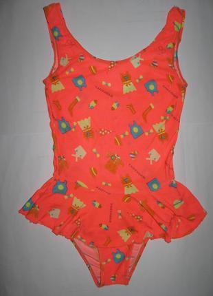 Яркий детский цельный купальник  с юбочкой в принт на 11-12лет, рост 146-152