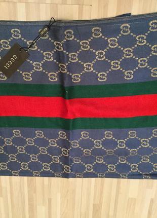 Роскошный шелковый синий палантин шарф