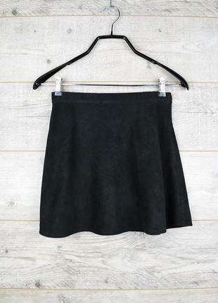 Стильная короткая черная юбка под замш от new look