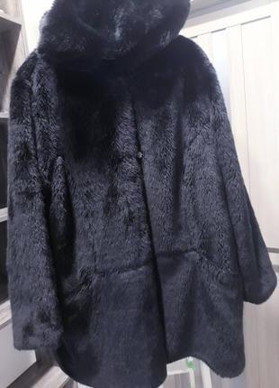 Модний полушубок шубка з капюшоном великого розміру / полушубок из искусственного меха