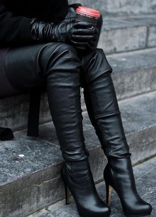 Кожаные черные сапоги ботфорты topshop 36 размер
