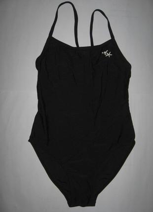 Черный спортивный цельный купальник на подростка 14-15лет