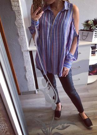 Стильная рубашка с открытыми плечами next , блуза , блузка