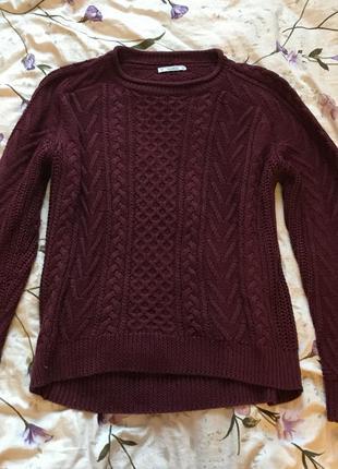 Вязаный трикотажный свитер бордо/марсала оверсайз pull&bear