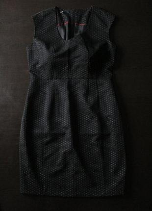 Черное платье в горошек с подкладкой