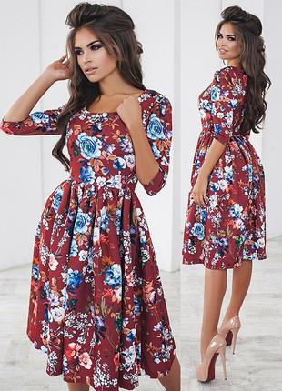 Пышное платье миди с цветочным принтом (есть размеры и расцветки)