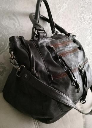 Очень большая кожаная сумка oushka