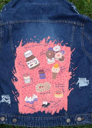 Сладкая вкусная джинсовочка рваная авторская роспись