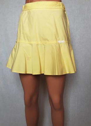 Летняя хлопковая юбка годе лимонного цвета, размер xs-s
