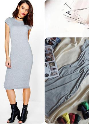 Англия платье миди меланж оригинал boohoo / плаття міді grey marl