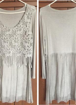 Шифоново-трикотажное платье м.d italy
