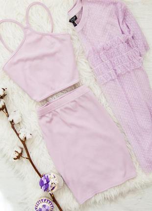 Лиловый костюм в рубчик (топ+юбка+ футболка-сетка) boohoo