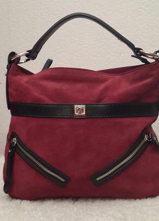 Шикарная брендовая замшевая сумка coccinelle красивого винного цвета1 ... cd969bb1c73