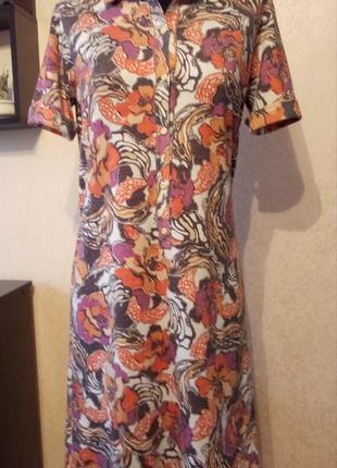 Платье рубашка миди  яркое короткий рукав на пуговицах