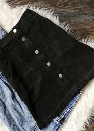 Вельветовая юбка-трапеция на пуговицах 153539 marks & spencer uk10/38 (s/m) темно зеленая