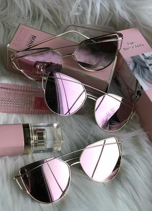 Зеркальные очки rose gold ! новые скидка