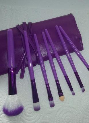 Акция ❤ набор кистей для макияжа 7 шт. в футляре violet