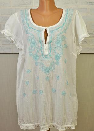 Прелестная батистовая блуза-вышиванка,большой размер ,евро 18