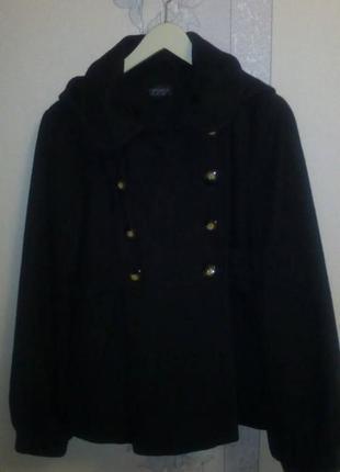 Короткое пальто с капюшоном topshop