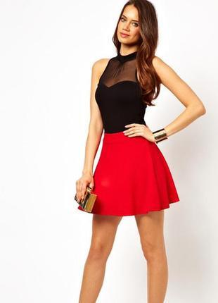 Короткая пышная юбка красная quiz