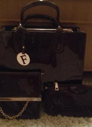 Акция до 31.07! fashion набор сумка+клатч+косметичка лакированная кожа 1=3!