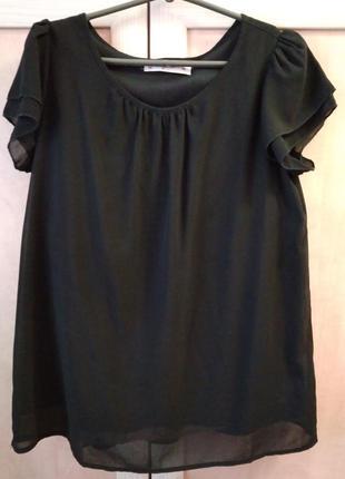 Блузка черная с коротким рукавом