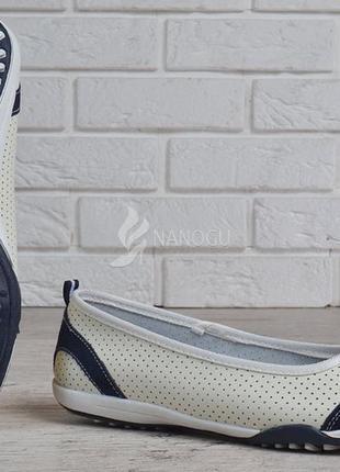 Балетки кожаные турция мокасины женские скетчерс белые с синим5 фото