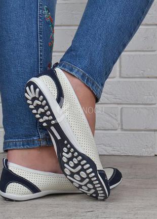 Балетки кожаные турция мокасины женские скетчерс белые с синим6 фото