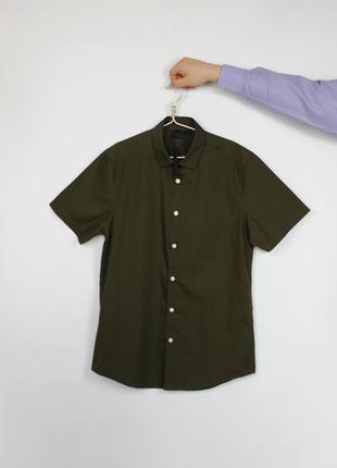 Новая модная рубашка asos цвета хаки с коротким рукавом