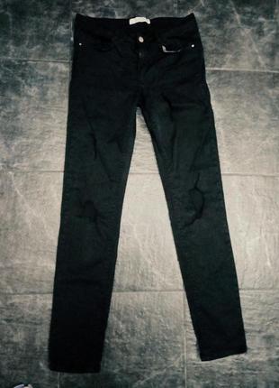 Черные рваные джинсы zara, skinny, узкие джинсы, черные брюки