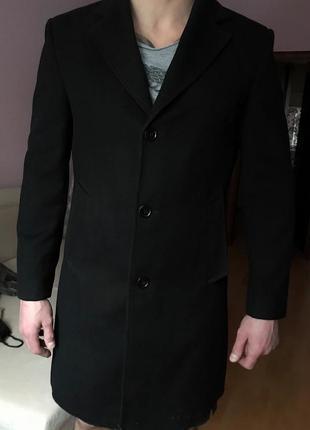 Мужское кашемировое классическое пальто чёрное