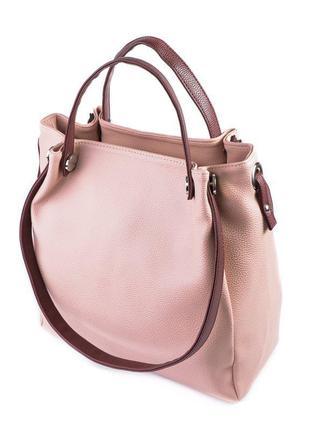 Розовая женская сумка шоппер с бордовыми ручками на плечо