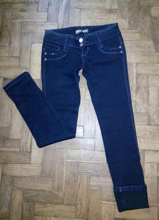 Утепленные темно-синие джинсы