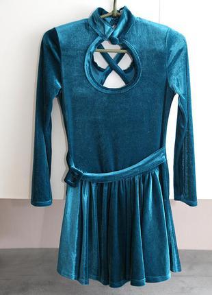 Велюровое платье - шорты xs